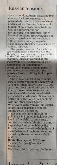 """Kawczyński w """"Daily Telegraph"""" domaga się zwrotu wraku prezydenckiego samolotu Tu-154 doPolski"""